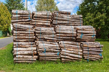 bundles: Big pile of wood logs bundles on a rural background Stock Photo