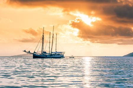 recreational: Recreational Yacht at the Indian Ocean. Beautiful sunset