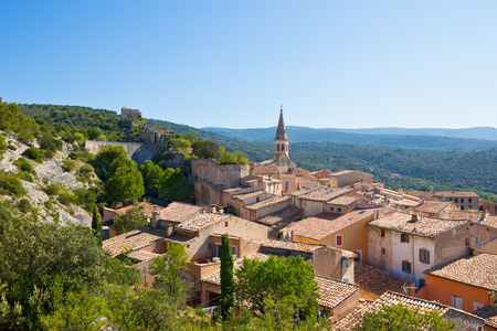 apt: View of Saint Saturnin d Apt, Provence, France. Skyline with The Cathedral roof