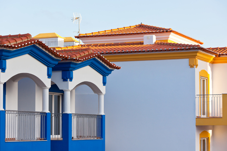 rooftile: Unrecognizable Part of a New Residential House at Algarve, Portugal. Shot with a copy space Editorial