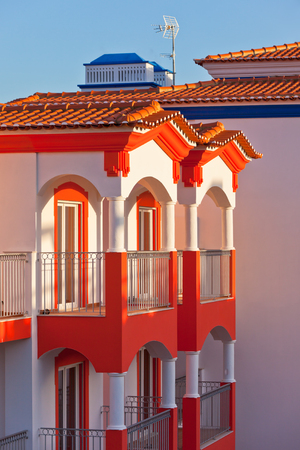 rooftile: Unrecognizable Part of a New Residential House at Algarve, Portugal Stock Photo