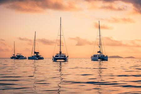 indian ocean: Recreational Yachts at the Indian Ocean. Beautiful sunset Stock Photo