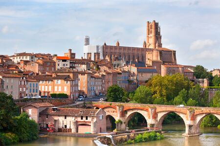 france: View of the August bridge and The Saint Cecile church in Albi, France. Horizontal shot