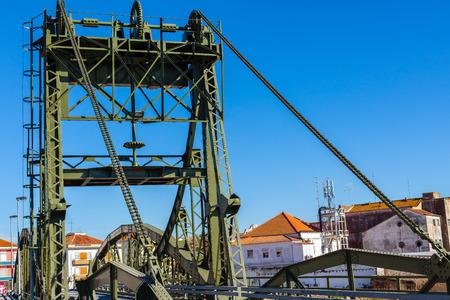 metal structure: Metal structure elevation bridge over Sado river. Alcacer do Sal, Portugal