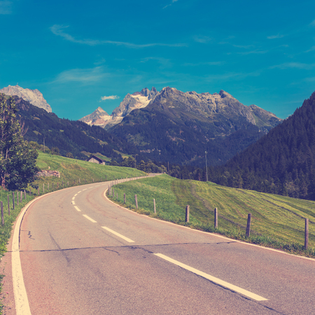 filtered: Road Turn in Mountains. Filtered square image