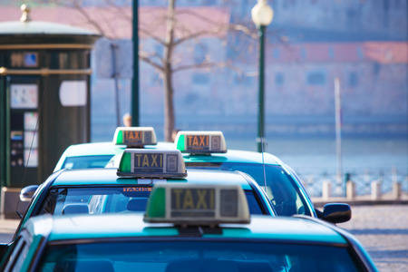 vacant sign: Vacant taxi parking, Porto, Portugal. Horizontal shot