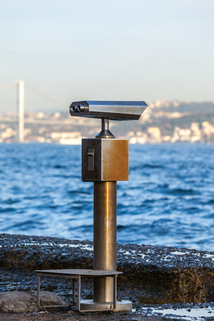 Telescope overlooking for the sea in Istanbul. Shot with a Selective focus Stock Photo