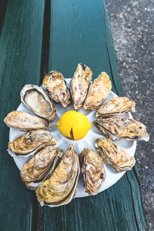 dozen: A dozen oysters and a lemon on a plastic plate eating outdoors near the sea