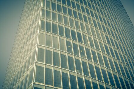 filtered: Office glass skyscraper building. Horizontal filtered shot