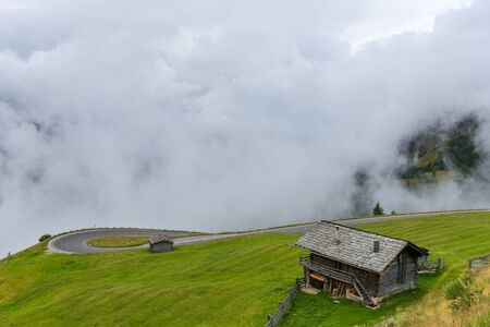 grossglockner: The Grossglockner high Alpine road area in overcast foggy weather
