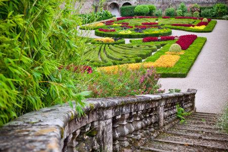 palais: ALBI, FRANCE - AUGUST 09: Palais de la Berbie Gardens at Albi, Tarn, France on August 09, 2014. Beautiful flowerbed