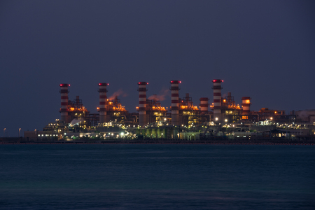 distillation: oil-refinery petrochemical chemical industry fuel distillation of petrol industrial Stock Photo