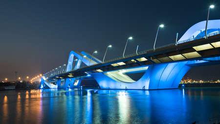 zayed: Sheikh Zayed Bridge at night, Abu Dhabi, United Arab Emirates Stock Photo
