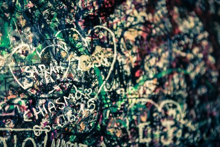 juliet: The wall full of messages from lovers in Juliet house, Verona, Italy. Stock Photo