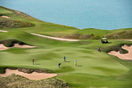 resort: golf resort with the scenery of the sea. summer vacation