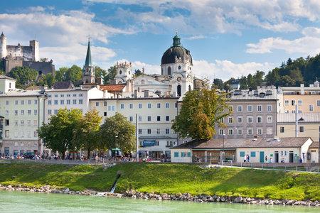 salzach: AUSTRIA, SALZBURG - AUGUST 18: River Salzach embankment in Salzburg, Austria on August 18, 2013