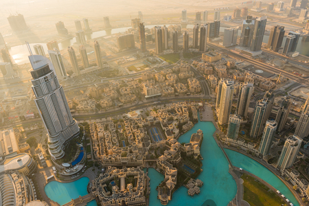 aerial view city: Dubai downtown morning scene. Top view from above