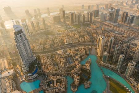 Dubai Downtown Scene mattina. Top vista dall'alto Archivio Fotografico - 52684835