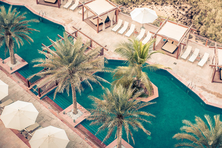 poolside: Hotel Poolside with Parasols and Palms. Top view shot