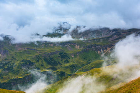 grossglockner: The Grossglockner high Alpine road area in overcast foggy weather
