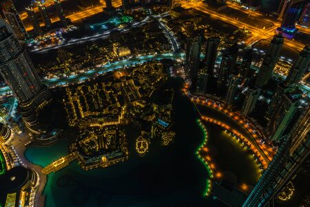 city lights: Dubai downtown night scene with city lights. Top view from above