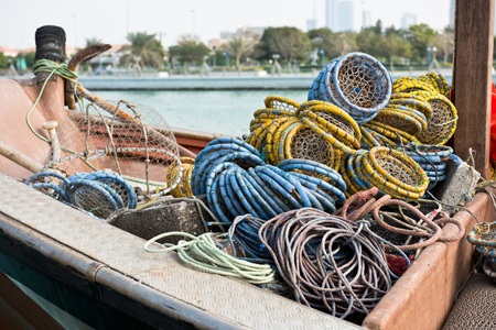 trawl: Fishing boats with color metal nets in the Persian Gulf Stock Photo