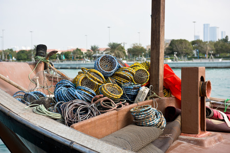 persian gulf: Fishing boats with color metal nets in the Persian Gulf Stock Photo
