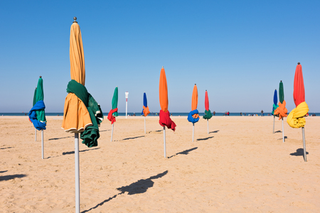 parasols: The famous colorful parasols on Deauville beach, Normandy, Northern France