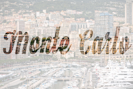 monte carlo: Monte Carlo, city name written on cityscape background