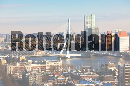 euromast: Name of Rotterdam city written on a picture of a view from Euromast tower at winter sunny day Stock Photo