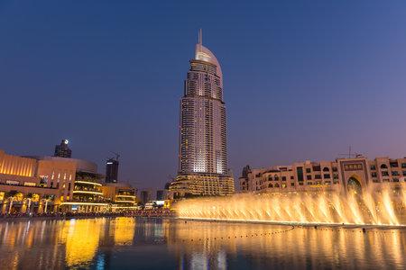 01: UAE, DUBAI - JANUARY 01: Dubai fountains show at the Dubai Mall on January 01, 2015