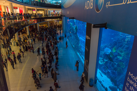 december 25: UAE, DUBAI - DECEMBER 25: huge aquarium in Dubai Mall shopping center on December 25, 2014 Editorial