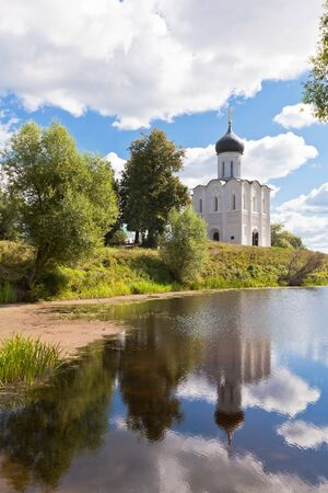 bogolyubovo: Church of the intercession on the Nerl river in Russia the village Bogolyubovo Stock Photo
