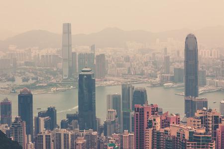 haze: Haze Hong Kong downtown view from Victoria peak. Filtered shot