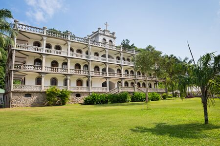 imposing: SEYCHELLES, VICTORIA - JANUARY 18: la domus the imposing residence of the roman catholic priesthood in Victoria, Mahe, Seychelles on January 18, 2015