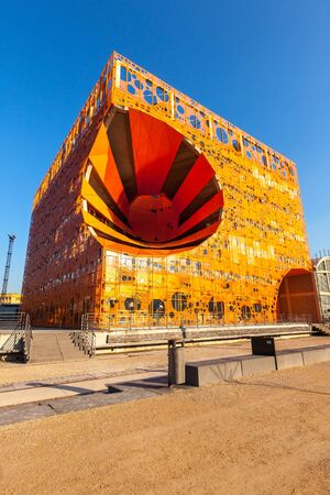 FRANCE, LYON - FEBRUARY 19: orange design cube house in Confluence, Lyon, France on February 19, 2013. New district with a modern architecture in the place of the old portDistrict with modern houses Redakční