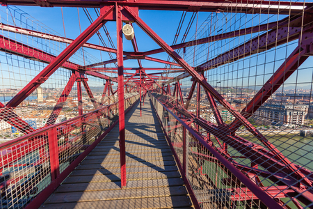 vizcaya: The Bizkaia suspension transporter bridge (Puente de Vizcaya) in Portugalete, Spain inside. Walking over the bridges platform