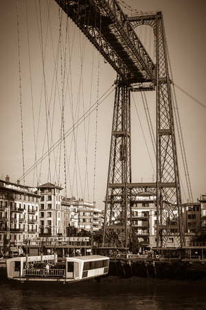 vizcaya: The Bizkaia suspension transporter bridge (Puente de Vizcaya) in Portugalete, Spain. The Bridge crossing the mouth of the Nervion River.