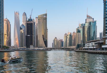 december 31: UAE, DUBAI - DECEMBER 31: view of Dubai Marina, United Arab Emirates - the largest man-made marina in the world on December 31, 2014 Editorial