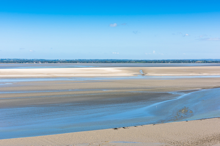 michel: View from walls of Mont Saint Michel on the bay during the low tide. France