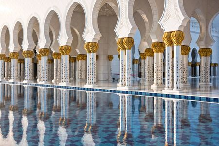 Beautiful gallery of famous Sheikh Zayed White Mosque in Abu Dhabi, UAE. Reflections