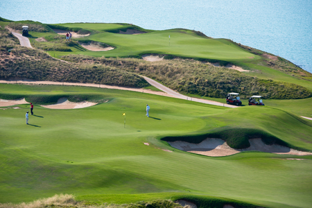golf resort with the scenery of the sea. summer vacation