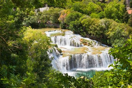 dalmatia: Krka waterfalls in The national park in Dalmatia, Croatia Stock Photo