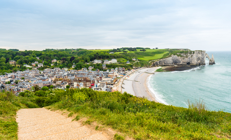 View from above to the town and the bay of Etretat, France