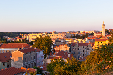 View of Pula, Croatia cityscape at sunset from above