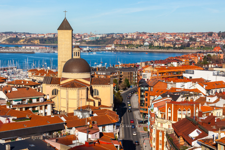 country church: Las arenas of Getxo seafront and church. Basque country, The Northern Spain Stock Photo