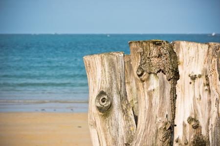 breakwaters: Breakwaters in low tide on seashore Saint malo, Brittany, France