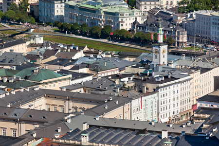 salzach: Top view of the Salzach river and the old city in center of Salzburg, Austria, from the walls of the fortress Editorial