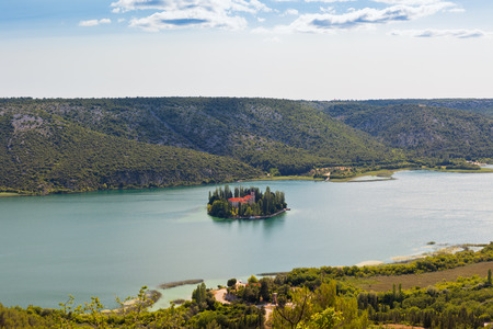 islet: Visovac christian monastery on the island in The Krka National park, Croatia. Aerial view