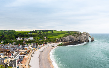 manche: View from above to the town and the bay of Etretat, France